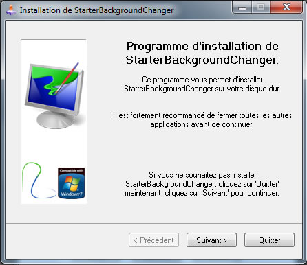 Instalando programa Starter Background Changer