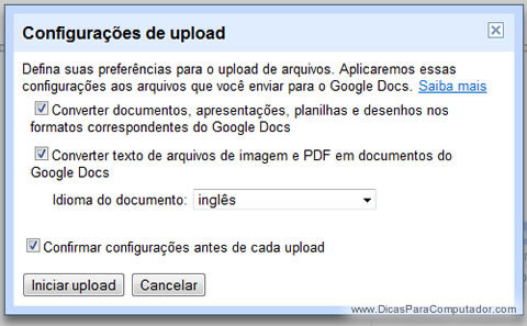 Configurações de upload do Google Docs