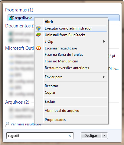 encontrando regedit no Windows