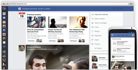 Novo design do Feed do Facebook