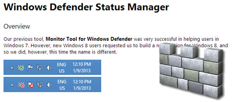 Colocando notificação status do Windows Defender